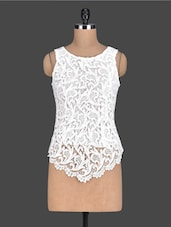 Solid White Lace Sleeveless Top - PINK LACE