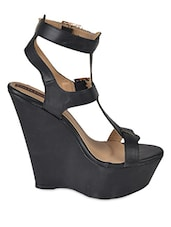 Strappy Black Leatherette Wedge Sandals - Flat N Heels