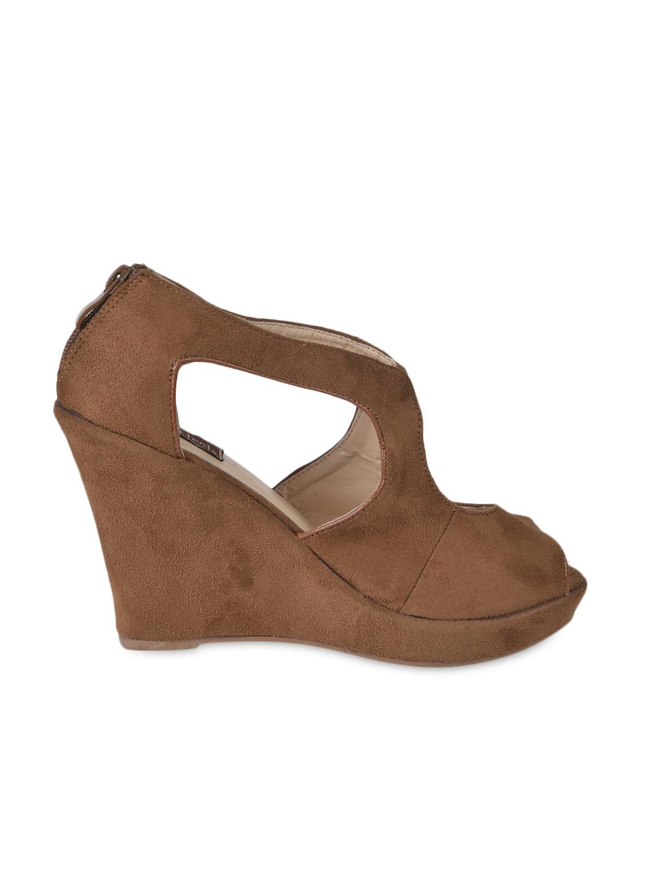 Peep Toe Brown Suede Wedges - Flat N Heels