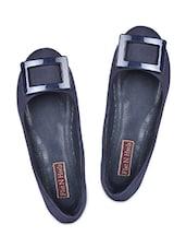 Trim Embellished Blue Leatherette Ballerinas - Flat N Heels