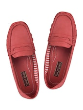 Red Leatherette Loafers - Flat N Heels