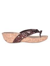 Brown Bling Strap Platform Heel Sandals - Flat N Heels