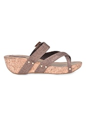 Snakeskin Inspired Brown Strap Sandals - Flat N Heels