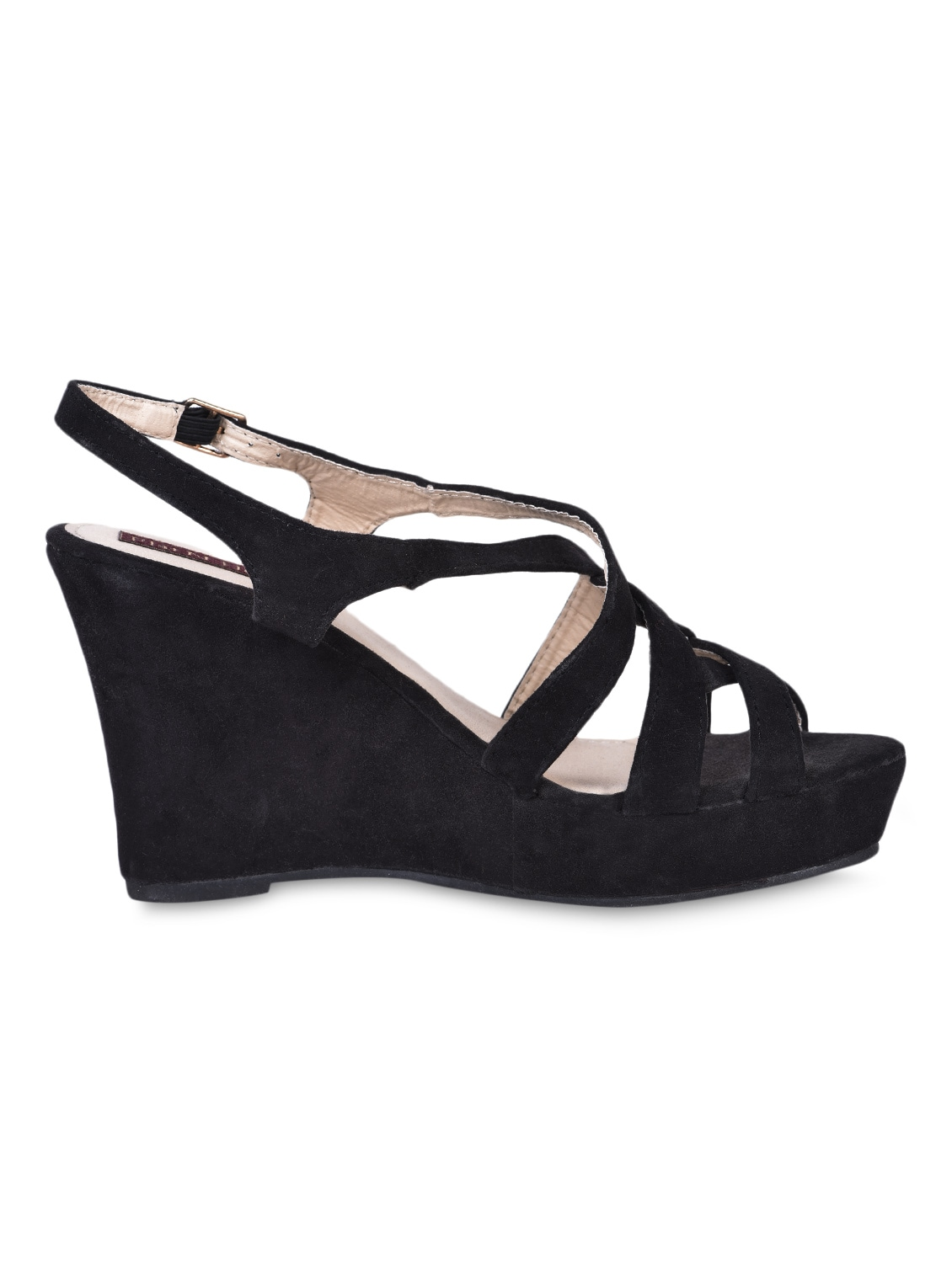 Buckle Lace Black Strapy Wedges - Flat N Heels