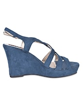 Buckle Lace Blue Strapy Wedges - Flat N Heels