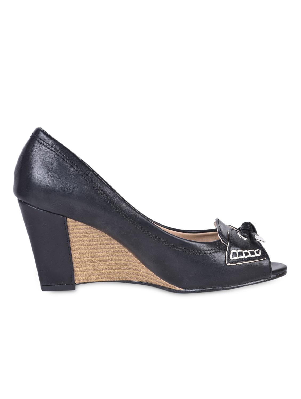 Knotted Black Peep Toe Wedges - Flat N Heels