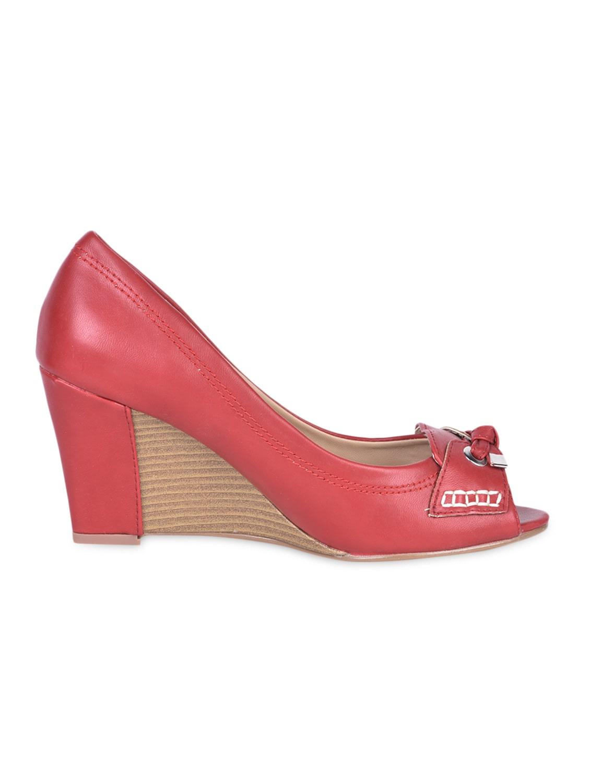 Knotted Red Peep Toe Wedges - Flat N Heels
