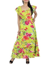 Floral Printed Vintage Maxi Dress - Diva Couture By Divvya