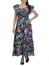 Tropical Printed Blue Maxi Dress - Diva Couture By Divvya
