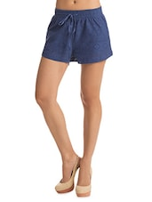 Solid Dark Blue Lacy Shorts - By