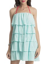 Light Blue Off Shoulder Layered Dress - By