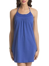 Blue Halter Neck Cotton Dress - By