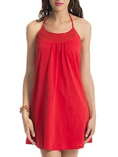 Red Halter Neck Cotton Dress - By