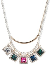 Multi Colored Metallic Stones Pearls Necklace Set - By