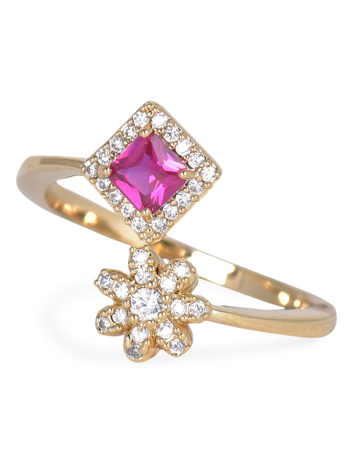 Gold Purple Flower And Diamond Shaped Stone Metallic Ring - By