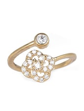 Gold Silver Stone Metallic Ring - By