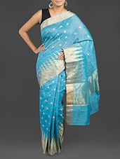 Turquoise Blue Cotton Banarasi Saree - By