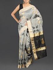 Leaf Detailed Grey Cotton Banarasi Saree - WEAVING ROOTS