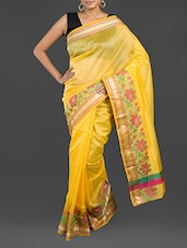 Yellow Cotton Banarasi Saree - WEAVING ROOTS