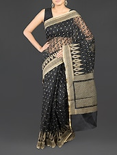 Black Cotton Banarasi Saree - By