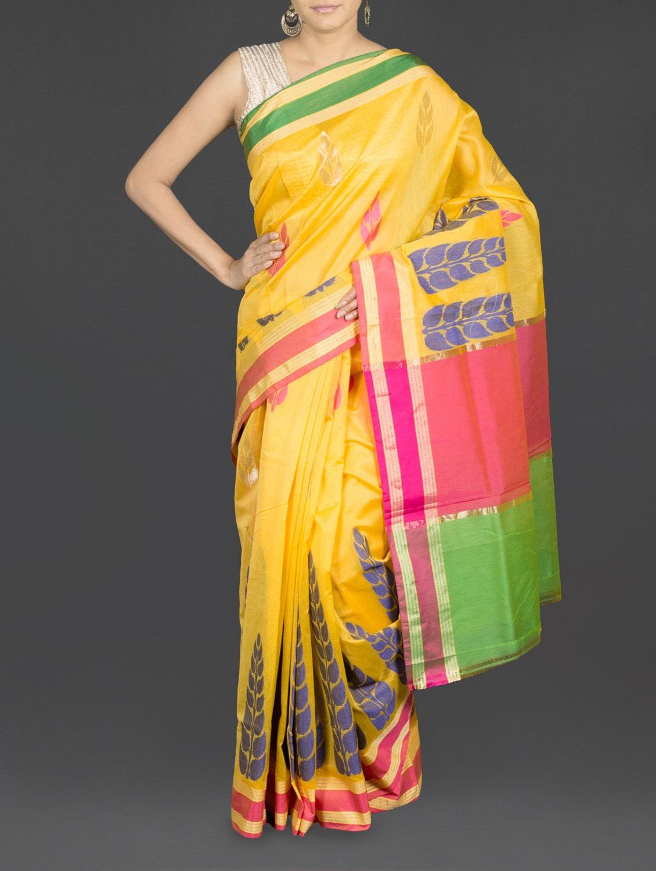 Yellow Leaf Printed Cotton Banarasi Saree - WEAVING ROOTS