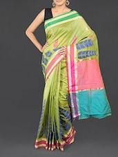 Green Leaf Printed Cotton Banarasi Saree - WEAVING ROOTS