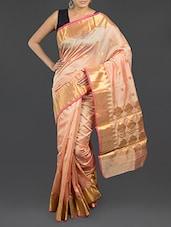 Beige Shaded Cotton Banarasi Saree - WEAVING ROOTS