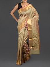 Pastel Green Shaded Cotton Banarasi Saree - WEAVING ROOTS