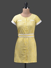 Yellow Round Neck Cotton Shirt Dress - Glam And Luxe