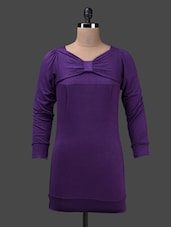 Purple Full Sleeve Viscose Knit Top - Glam And Luxe