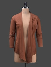 Brown Full Sleeve Viscose Knit Shrug - Glam And Luxe