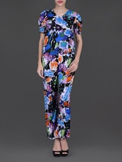 Printed Short Sleeves Overlapping Neck Jumpsuit - Glam And Luxe