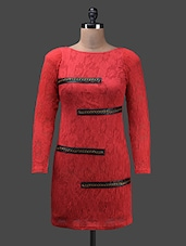 Red Poly Knit Full Sleeve Polyester Dress - Glam And Luxe