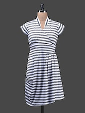Striped Grey And White Poly Lycra Knit Dress - Glam And Luxe