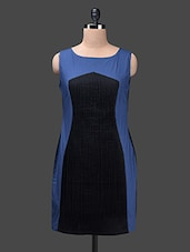 Dual Tone Colour Block Cotton Round Neck Dress - Glam And Luxe
