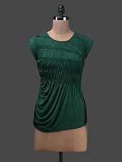 Dark Green Viscose Knit Gathered Top - Glam And Luxe