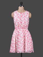 Round Neck Floral Print Pleated Georgette Dress - Citrine