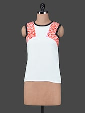 Round Neck Printed Inserts Georgette Top - Citrine