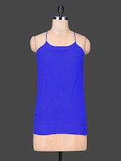 Solid Blue Cami Neck Polyester Top - Trend Arrest