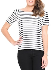 White And Black Stripped Boat-neck Top - By
