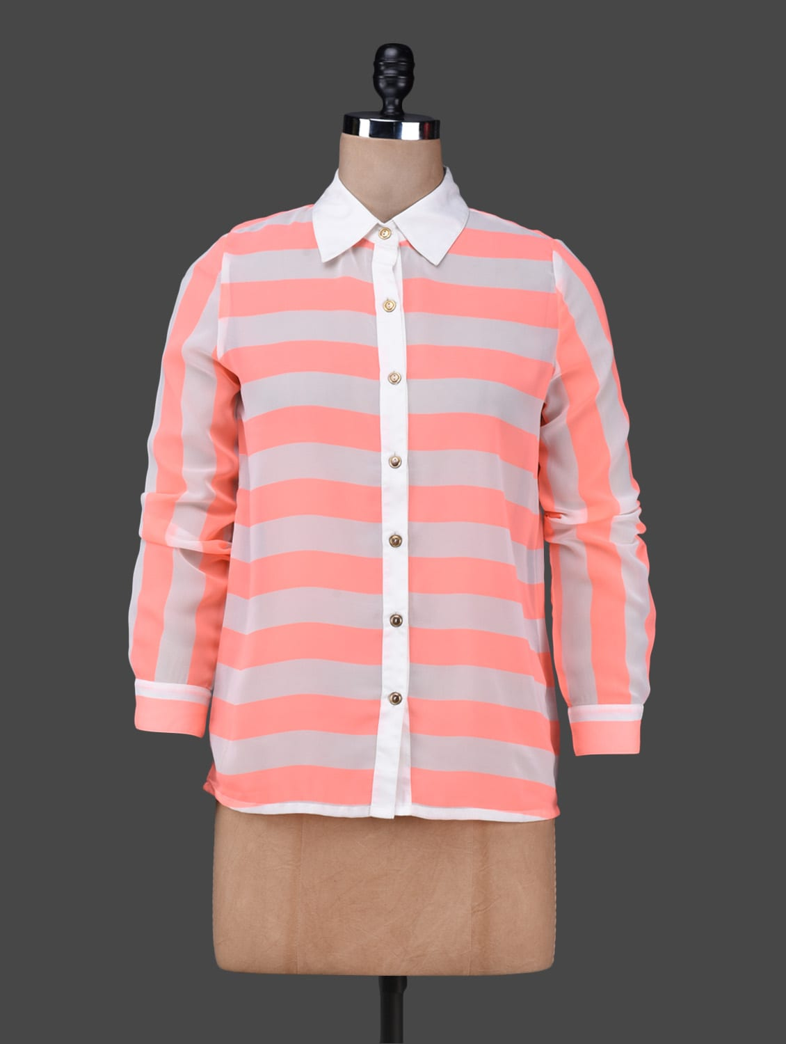 Neon Pink And White Striped Shirt - Texco