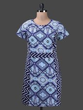 Round Neck Short Sleeves Printed Dress - QUEST