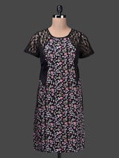 Round Neck Floral Print Lace Inset Dress - QUEST