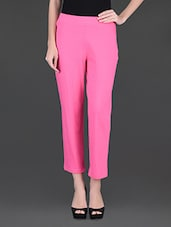 Plain Solid Pink Tapered Ankle Length Pants - Finesse
