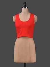 Orange Cotton Spandex Knit Crop Top - Finesse