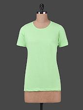 Green Cotton Knit Short Sleeve T-shirt - Finesse