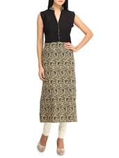 Floral Printed Sleeveless Long Kurta - Jainish