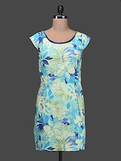 Green Round Neck Floral Print Polyester Dress - SPECIES