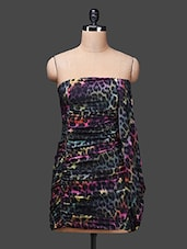 Black Sleeveless Printed Polyester Dress - SPECIES