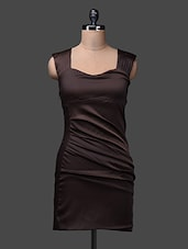 Brown Sleeveless Polyester Dress - SPECIES
